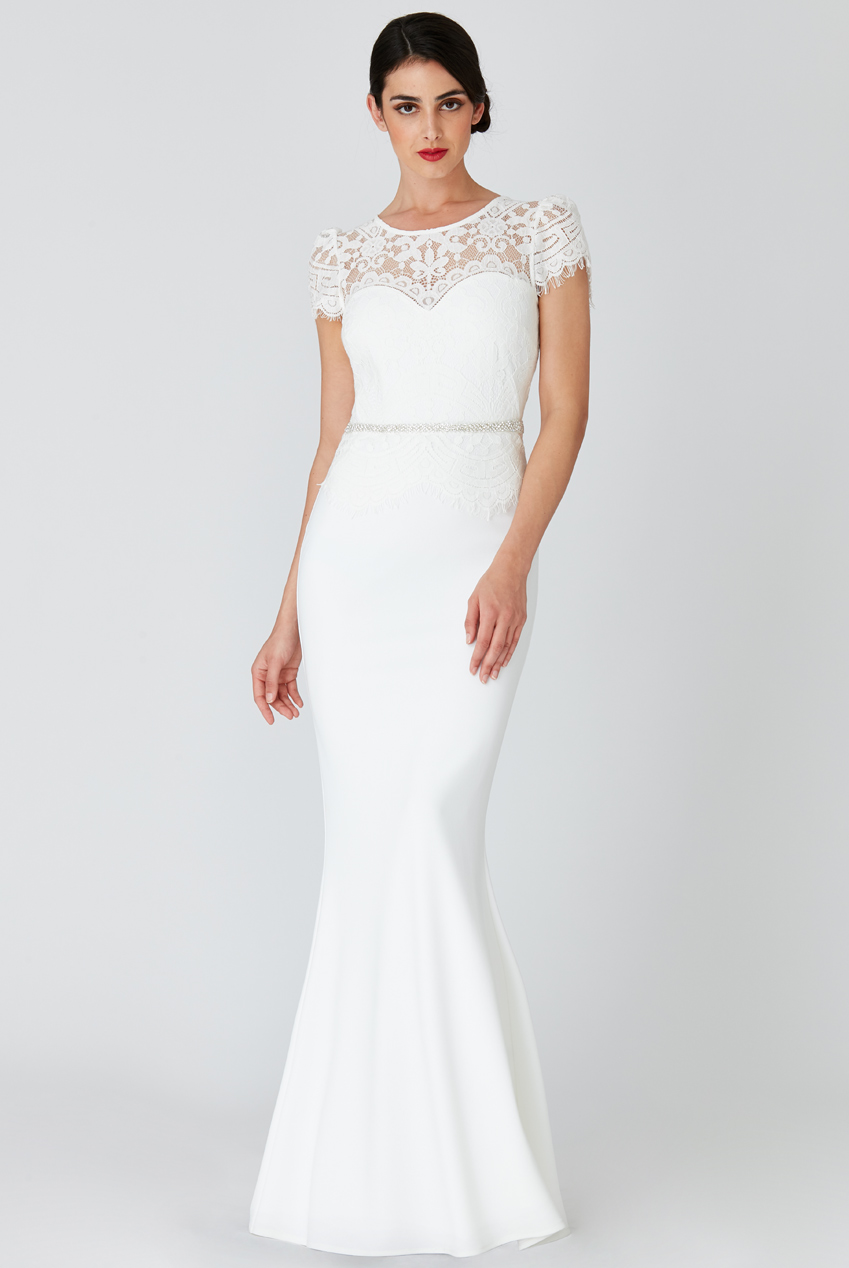Wholesale Lace Bodice Wedding Maxi Dress with Cap Sleeves