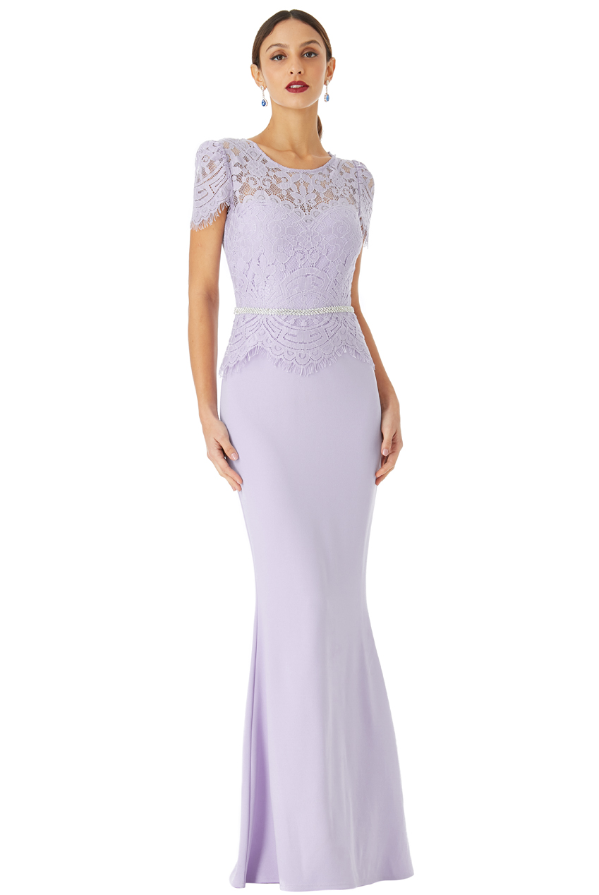 Wholesale Lace Bodice Maxi Dress with Cap Sleeves