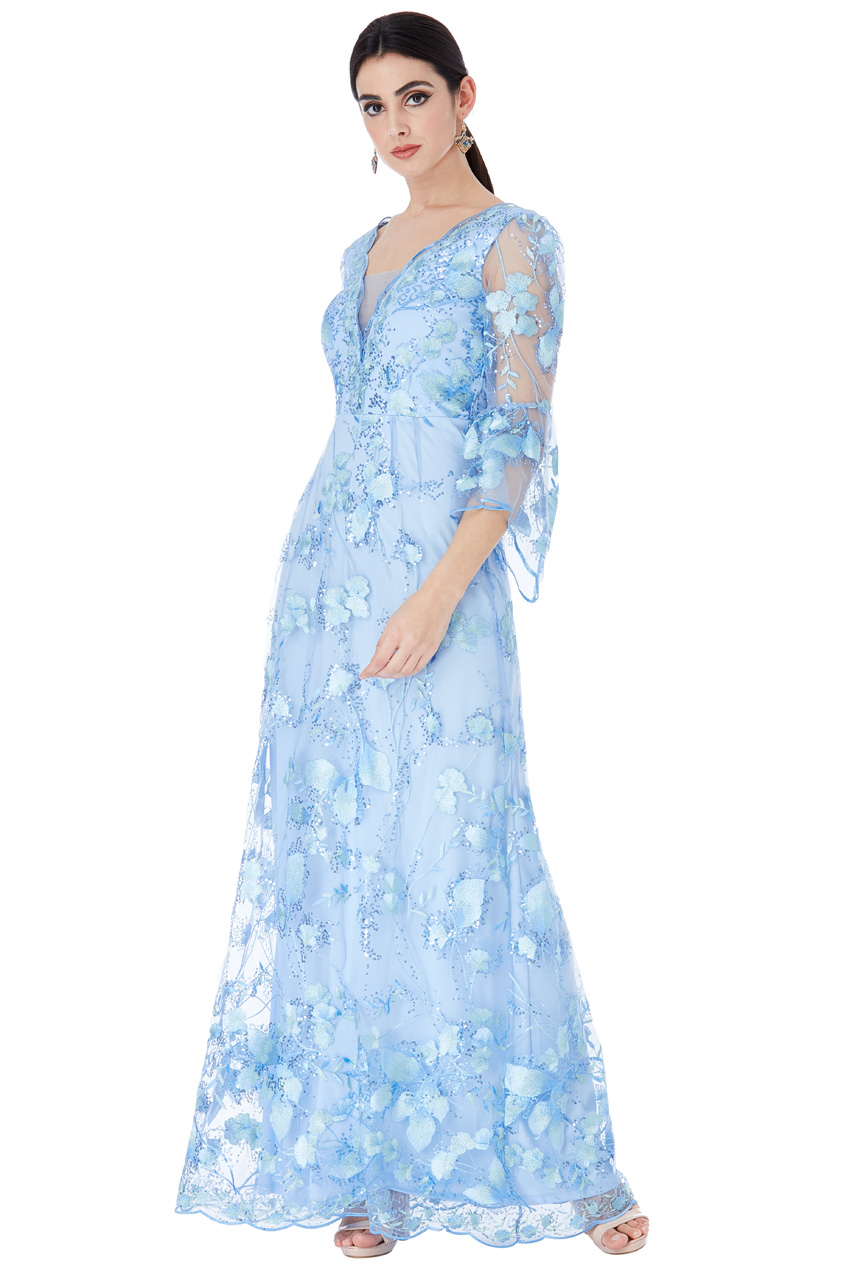 2582cfb45c60a8 Wholesale Embroidered Tulle Maxi Dress with Flared Sleeves - City ...