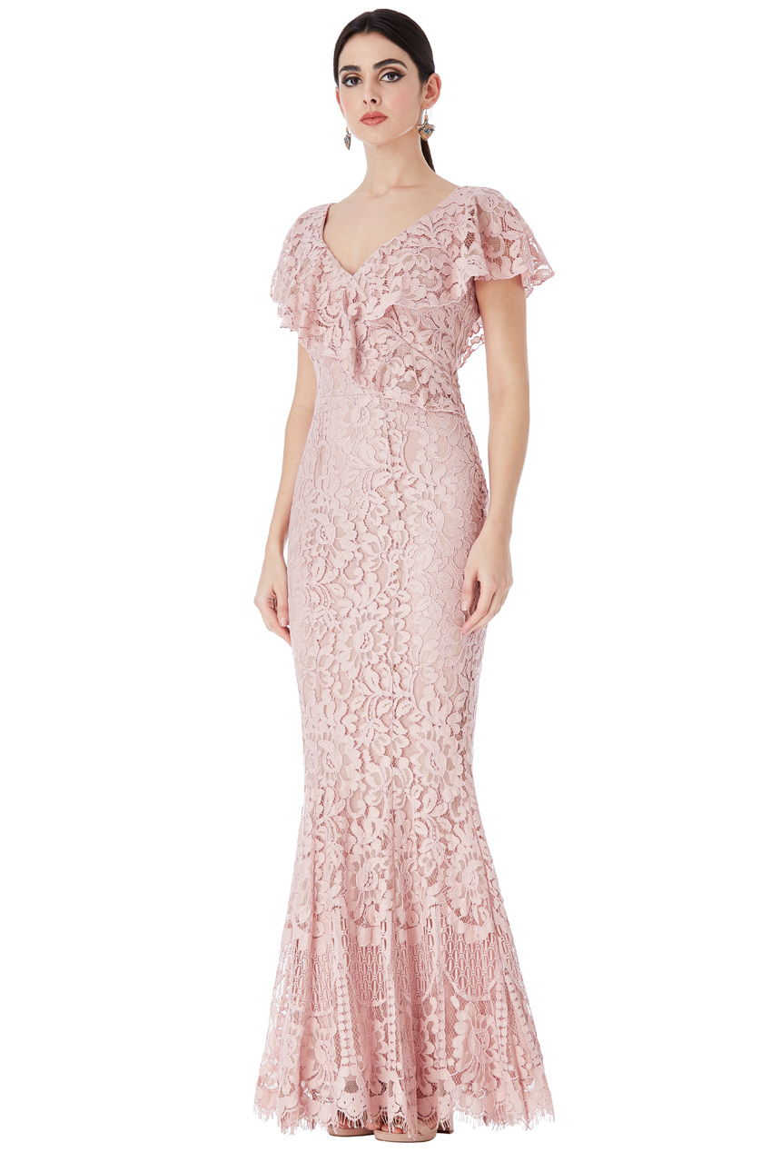 Wholesale Lace Maxi Dress with Frilled V Neckline