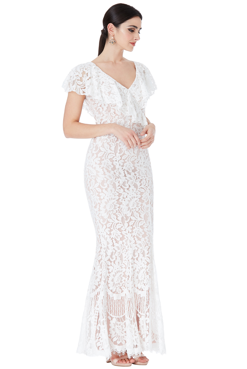 Wholesale Lace Wedding Maxi Dress with Frilled V Neckline
