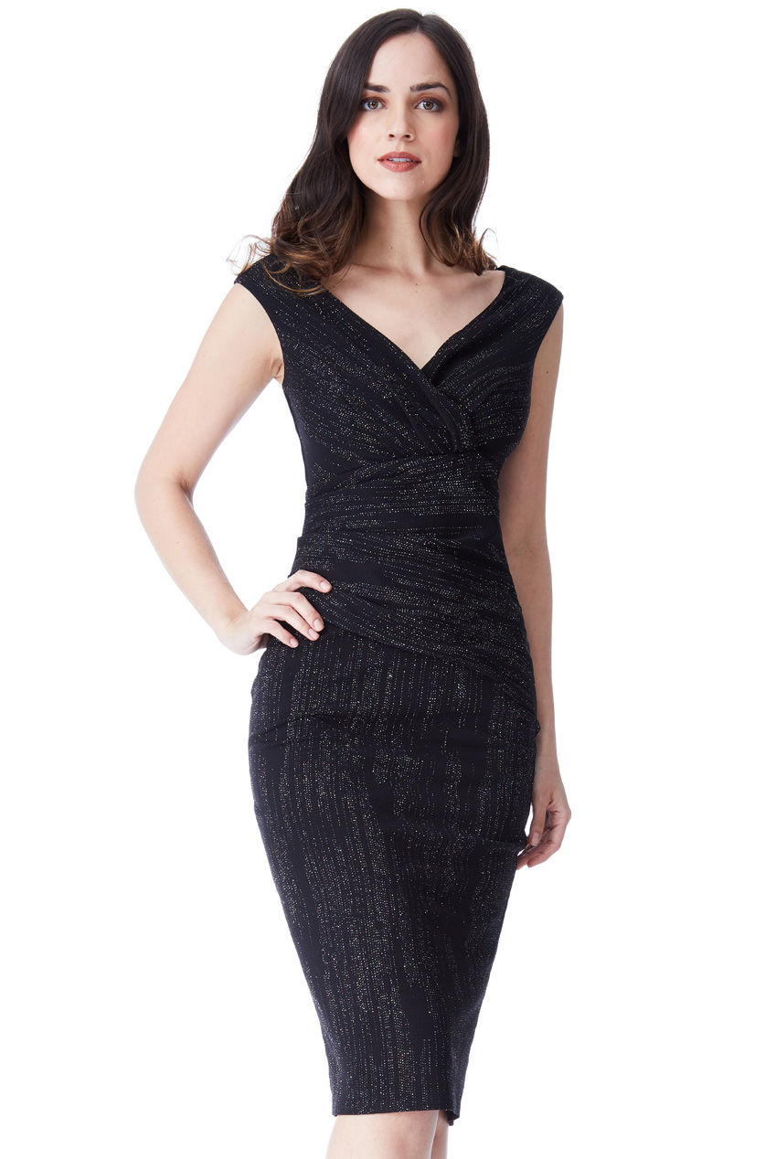 Wholesale Glitter Midi Dress with Pleated Waist - City Goddess