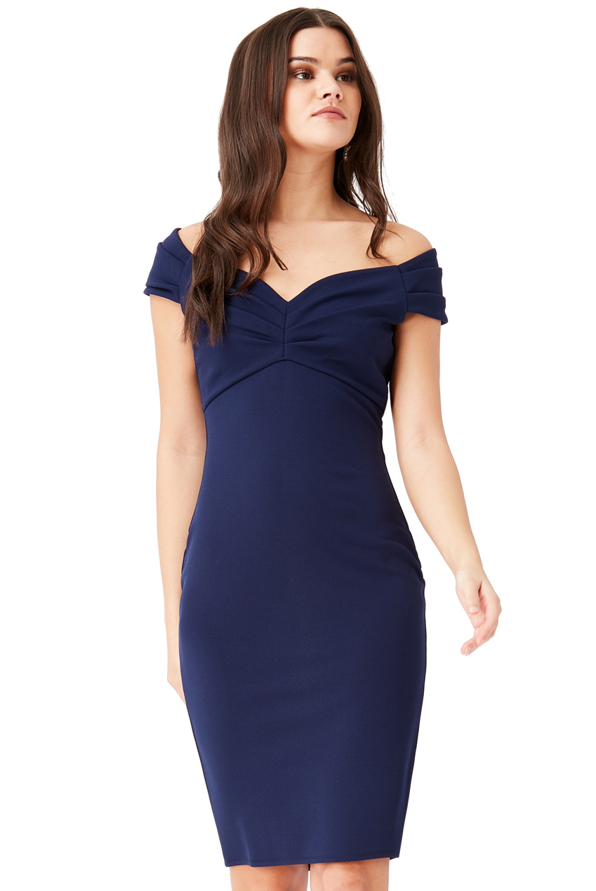 Wholesale Fitted Off The Shoulder Midi Dress