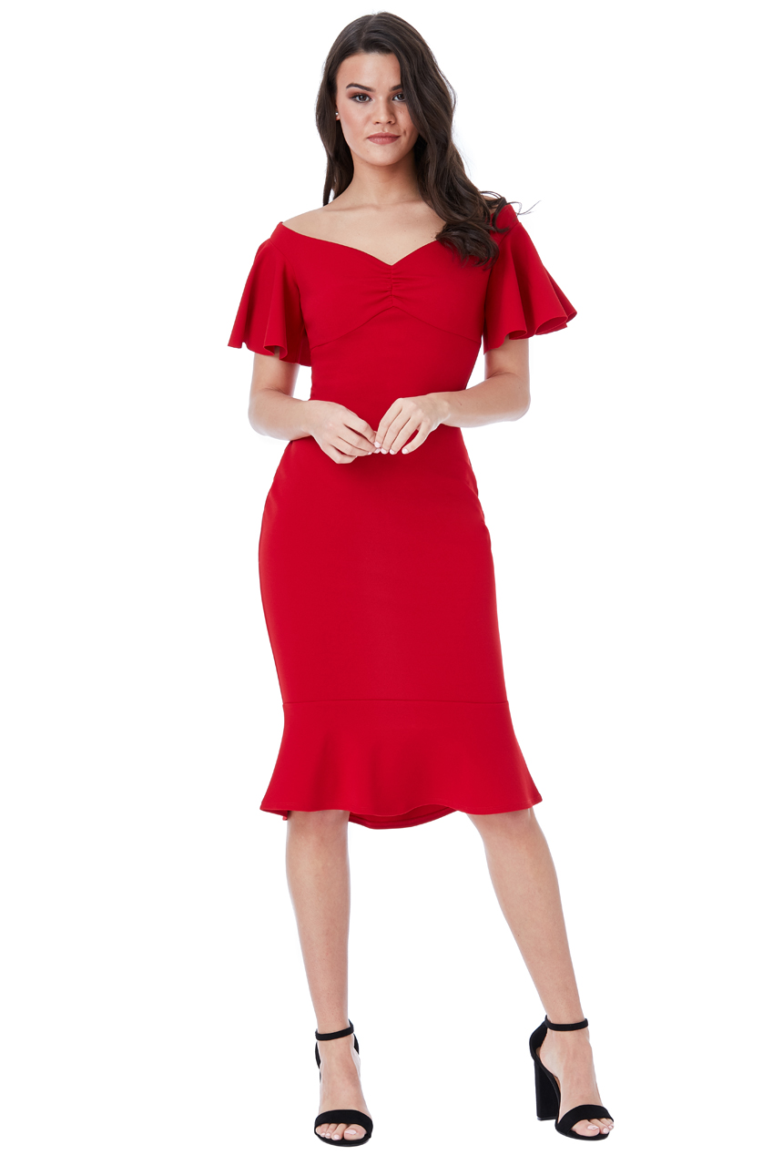 Wholesale Off the Shoulder Midi Dress with Ruffle Sleeves