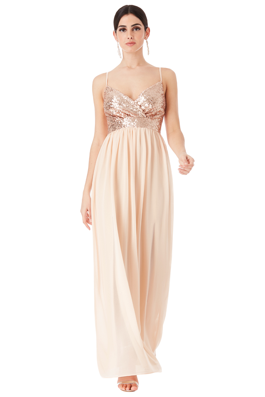 Wholesale Strappy Sequin and Chiffon Maxi Dress