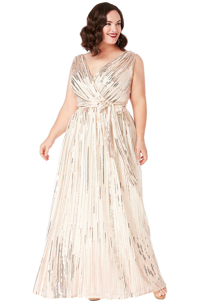 Wholesale Plus Size Sequined Chiffon Maxi Dress With Belt ...