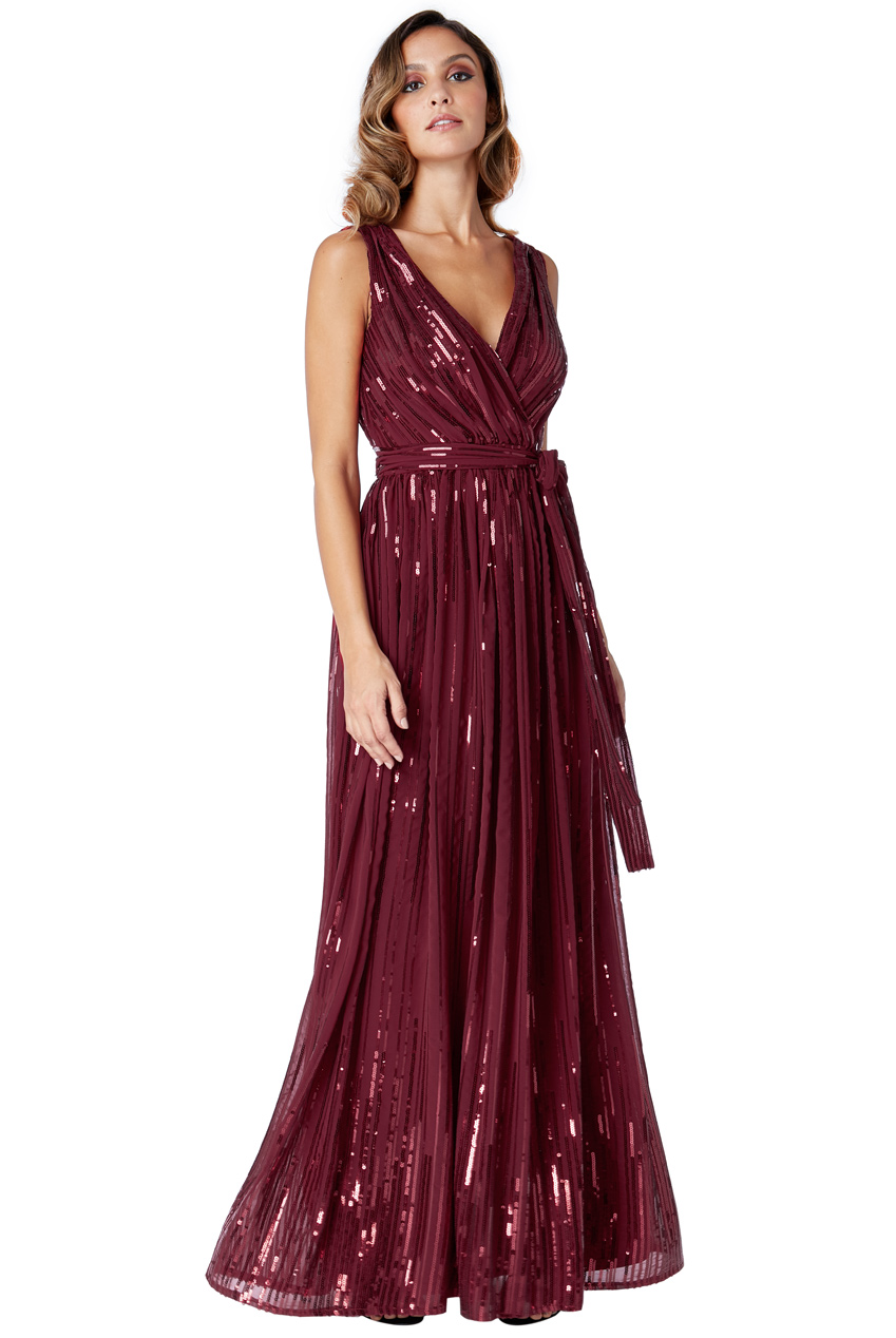 Wholesale Sequined Chiffon Maxi Dress With Belt