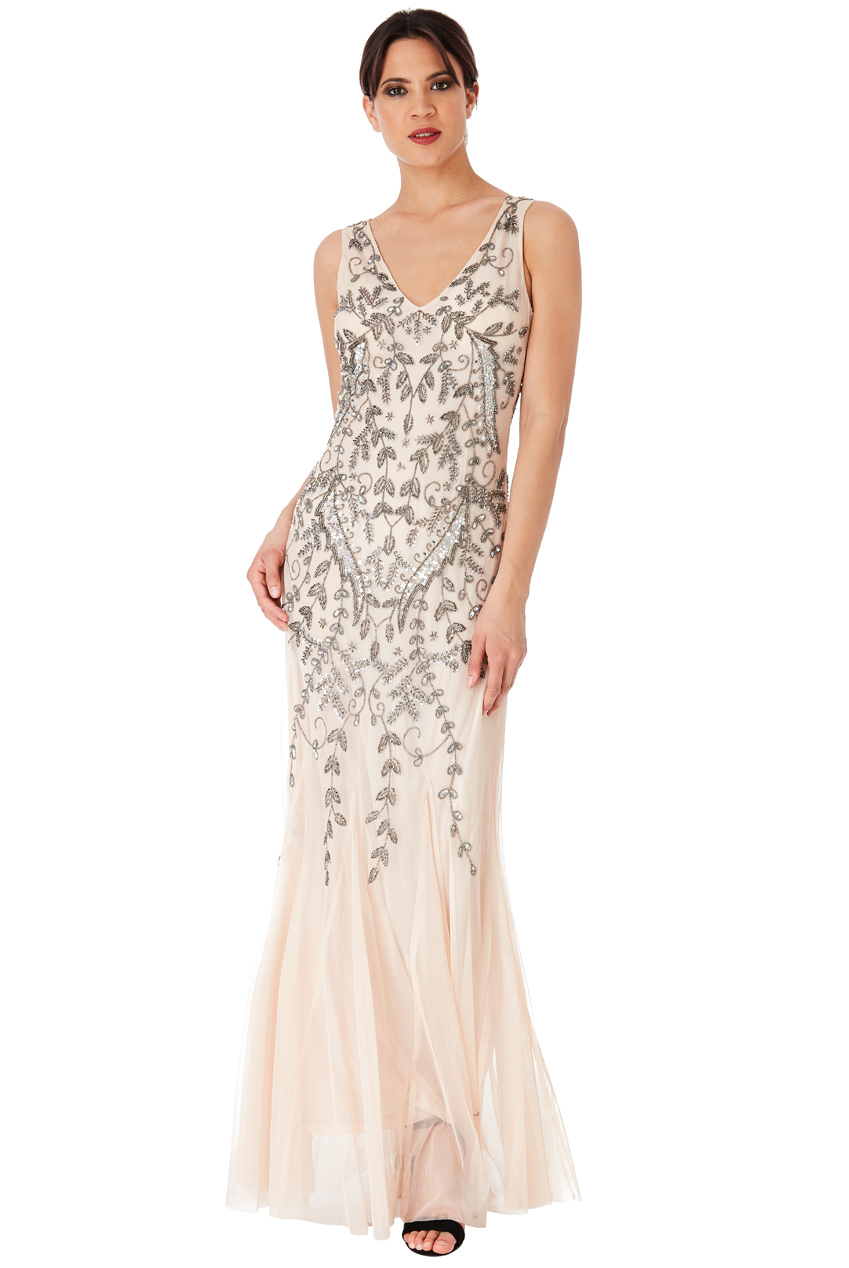 Wholesale Hand Embellished Sequins and Mesh Maxi Dress