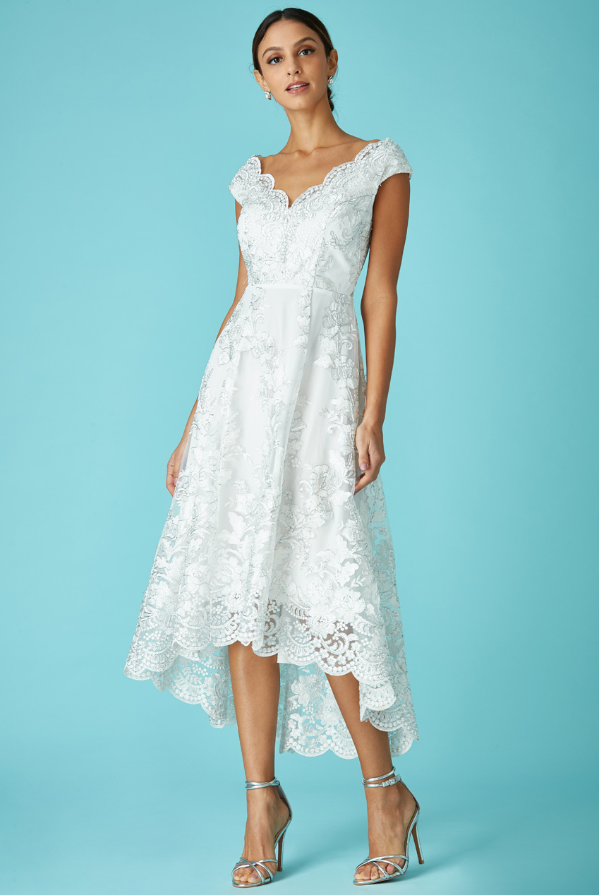 Wholesale Embroidered Lace Midi Wedding Dress with Asymmetrical Hem