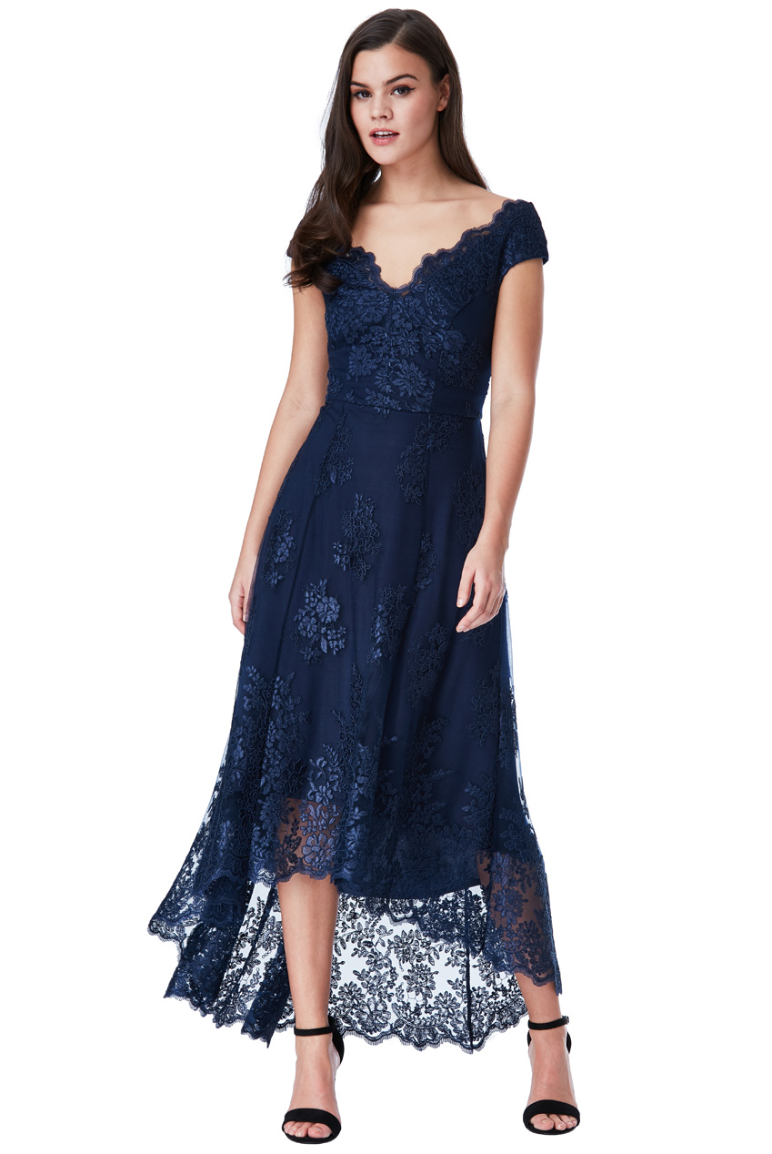 Wholesale Embroidered Lace Midi Dress with Asymmetrical Hem
