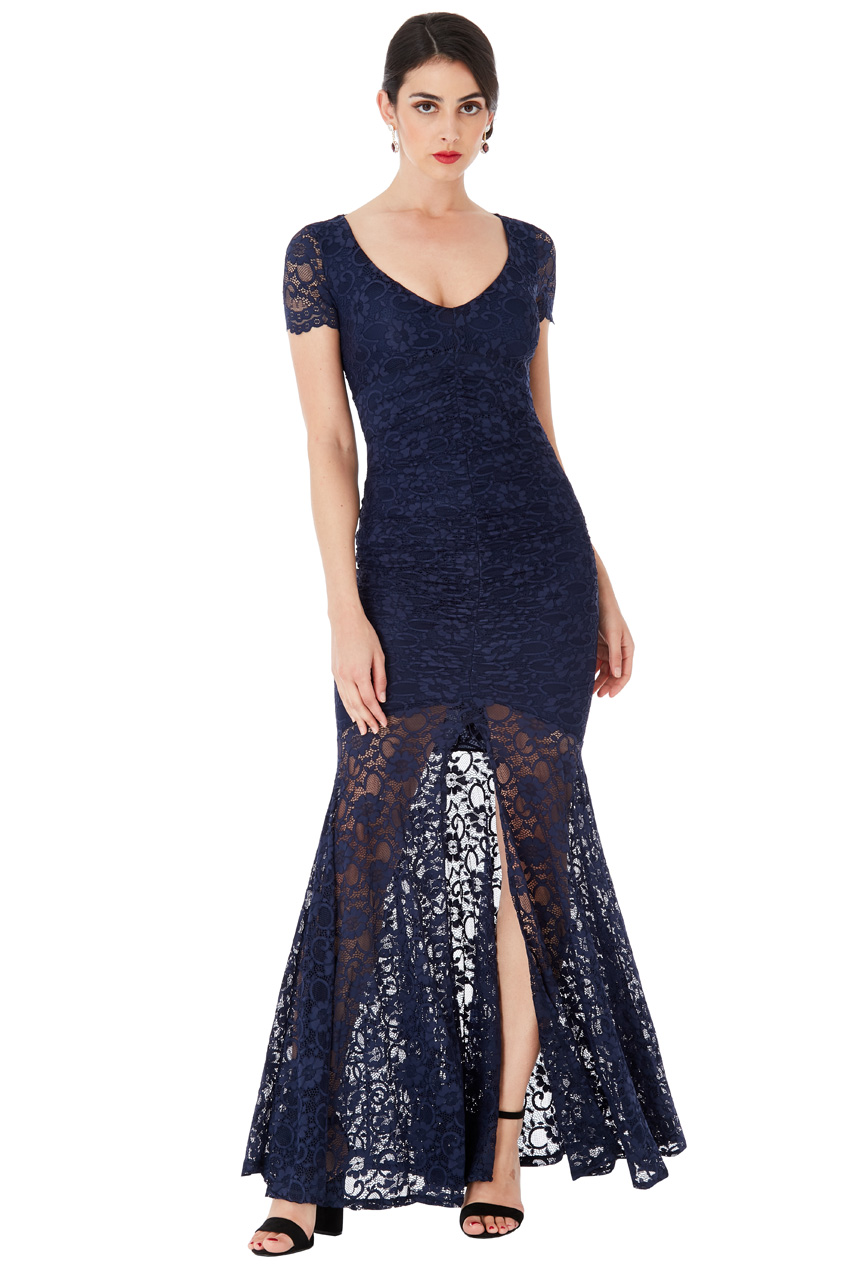 Wholesale Deep V Neckline Lace Maxi Dress with Short Sleeves