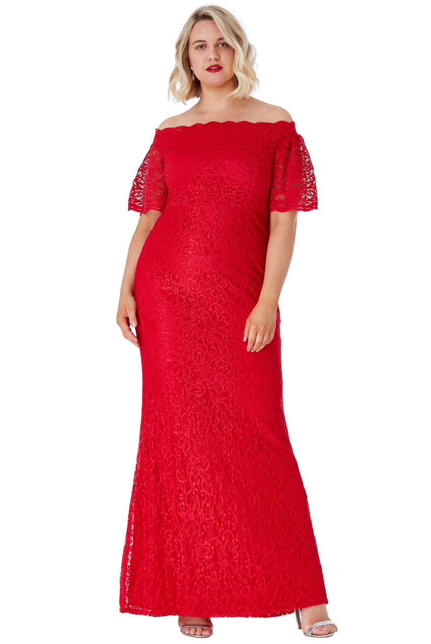 Wholesale Plus Size Bardot Lace Maxi Dress with Bell Sleeves
