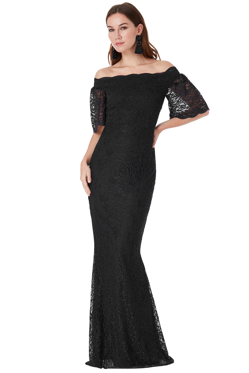 Wholesale Bardot Lace Maxi Dress with Bell Sleeves
