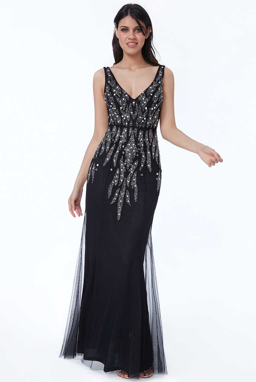 Wholesale Pearl Embellished Open Back Maxi Dress