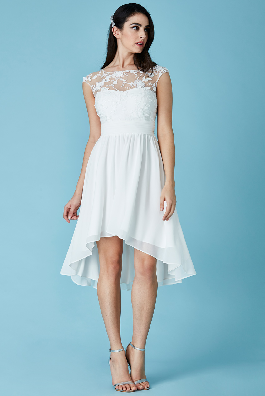 Wholesale High Low Chiffon Skater Dress with Floral Detail