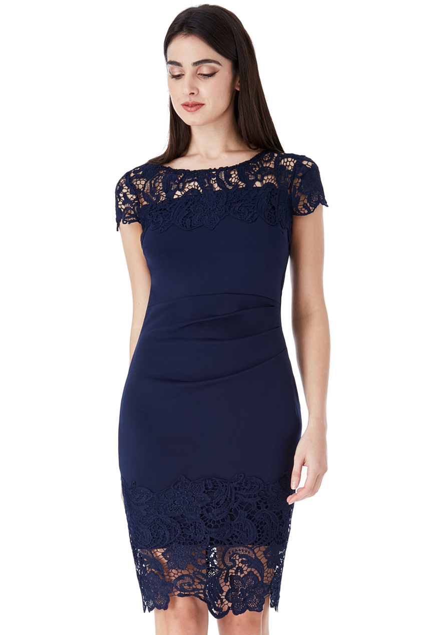 Wholesale Pleated Midi Dress with Crochet Lace Detail