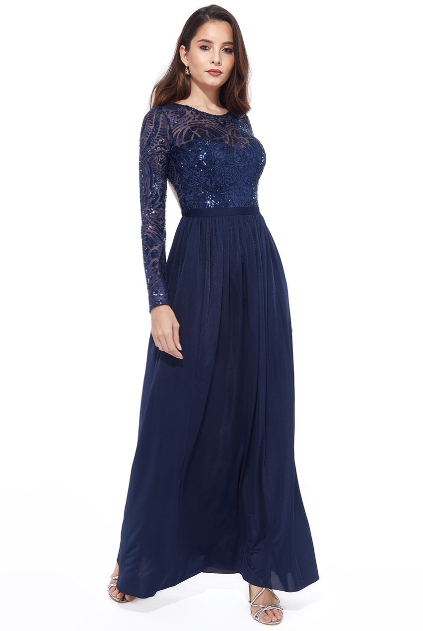 Wholesale Petite - Open Back Long Sleeve Sequin Maxi Dress