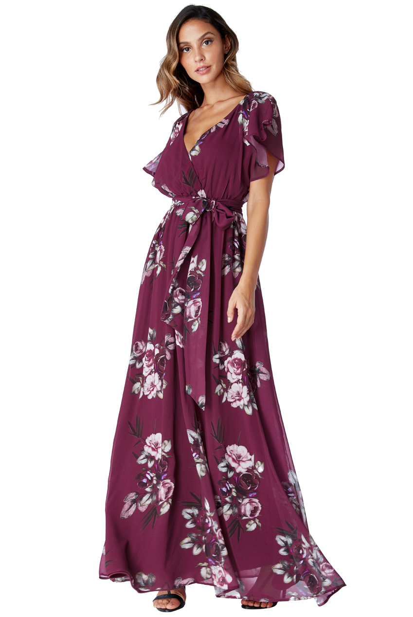 Wholesale Silky Chiffon Deep V Neck Butterfly Sleeve Maxi