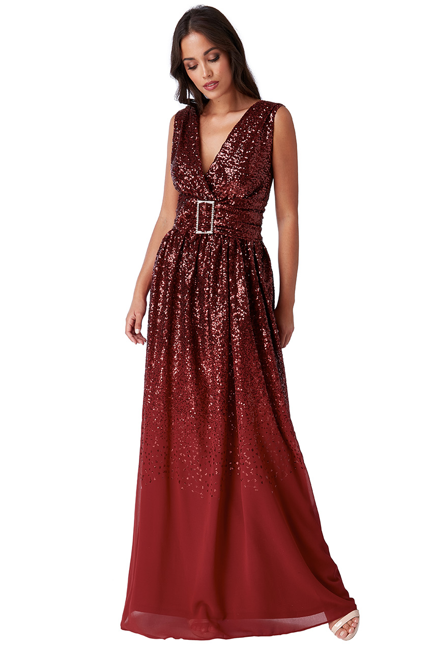 Wholesale Sequin and Chiffon Wrap Maxi Dress