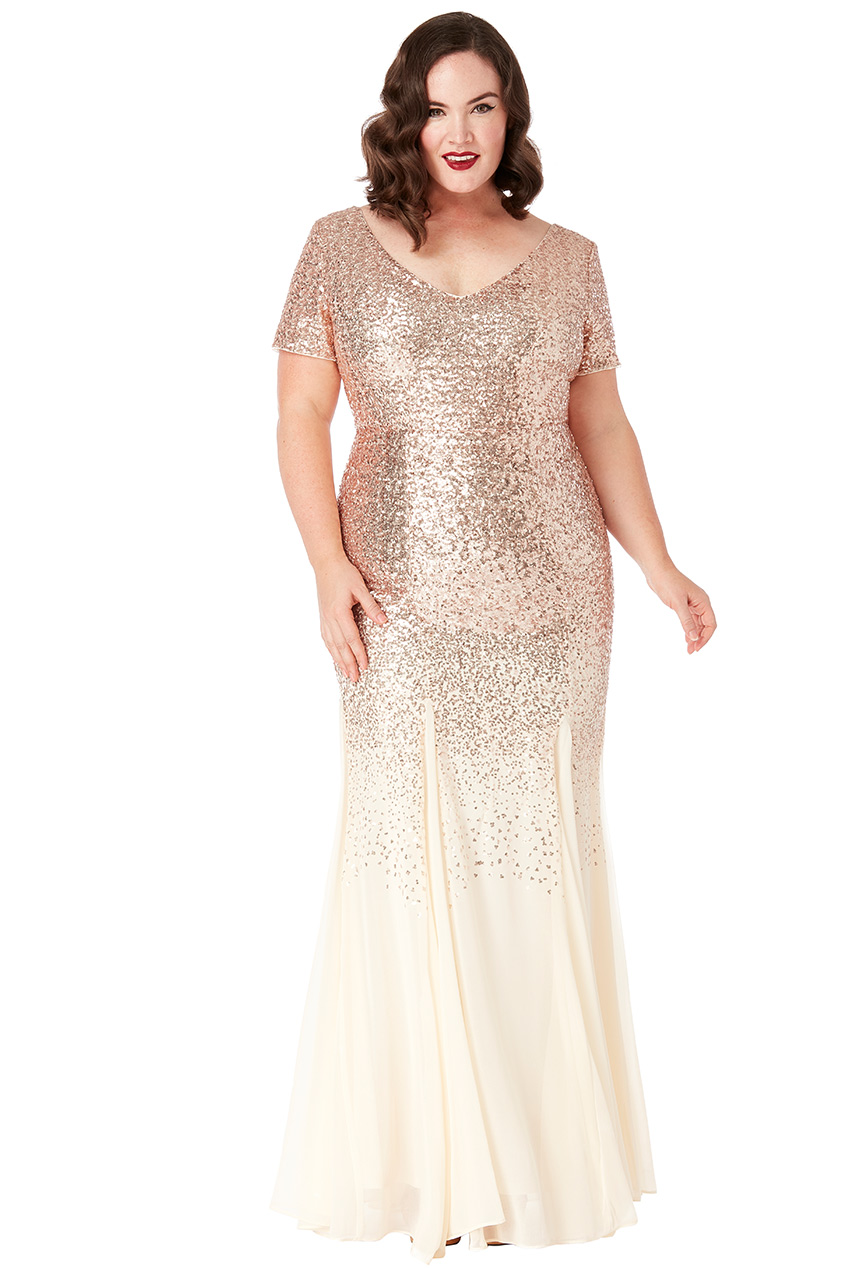 Wholesale Plus Size Sequin and Chiffon Short Sleeve V Neck Maxi Dress