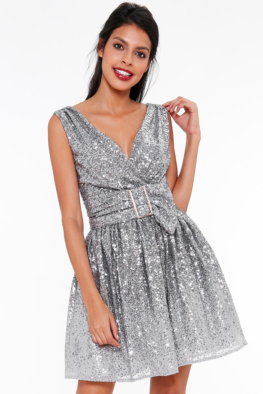Wholesale Sequin and Chiffon Belted Skater Dress