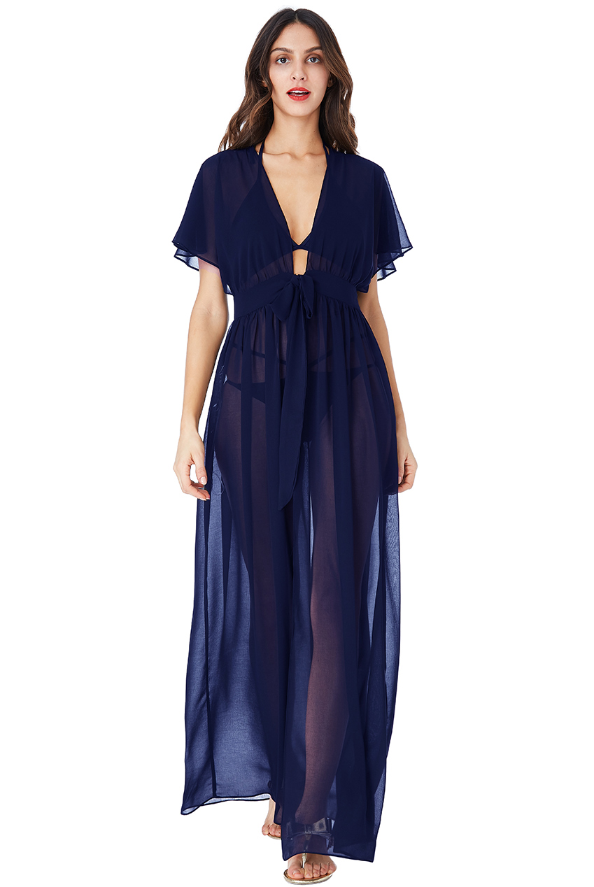 Wholesale Sheer Maxi Kaftan with Front Tie