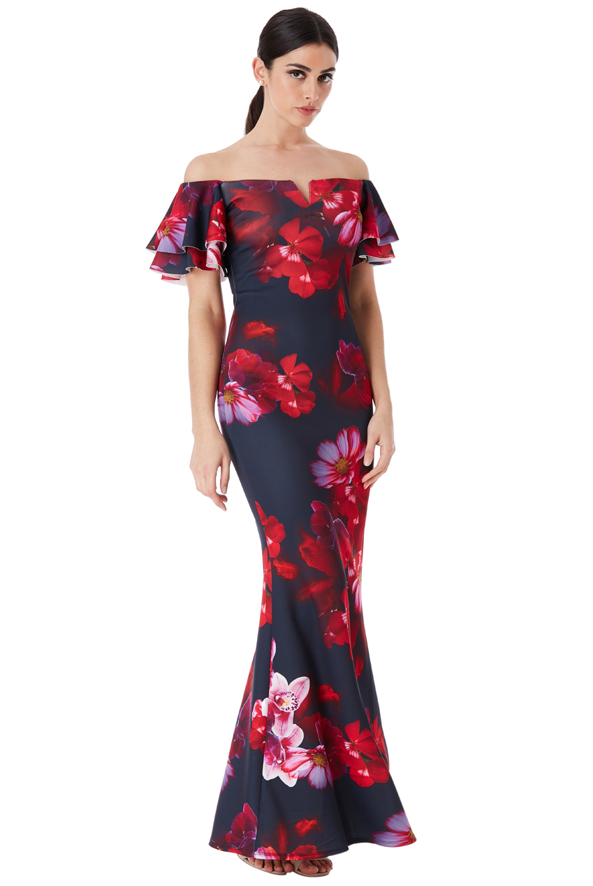 Wholesale Off The Shoulder Bold Floral Maxi Dress