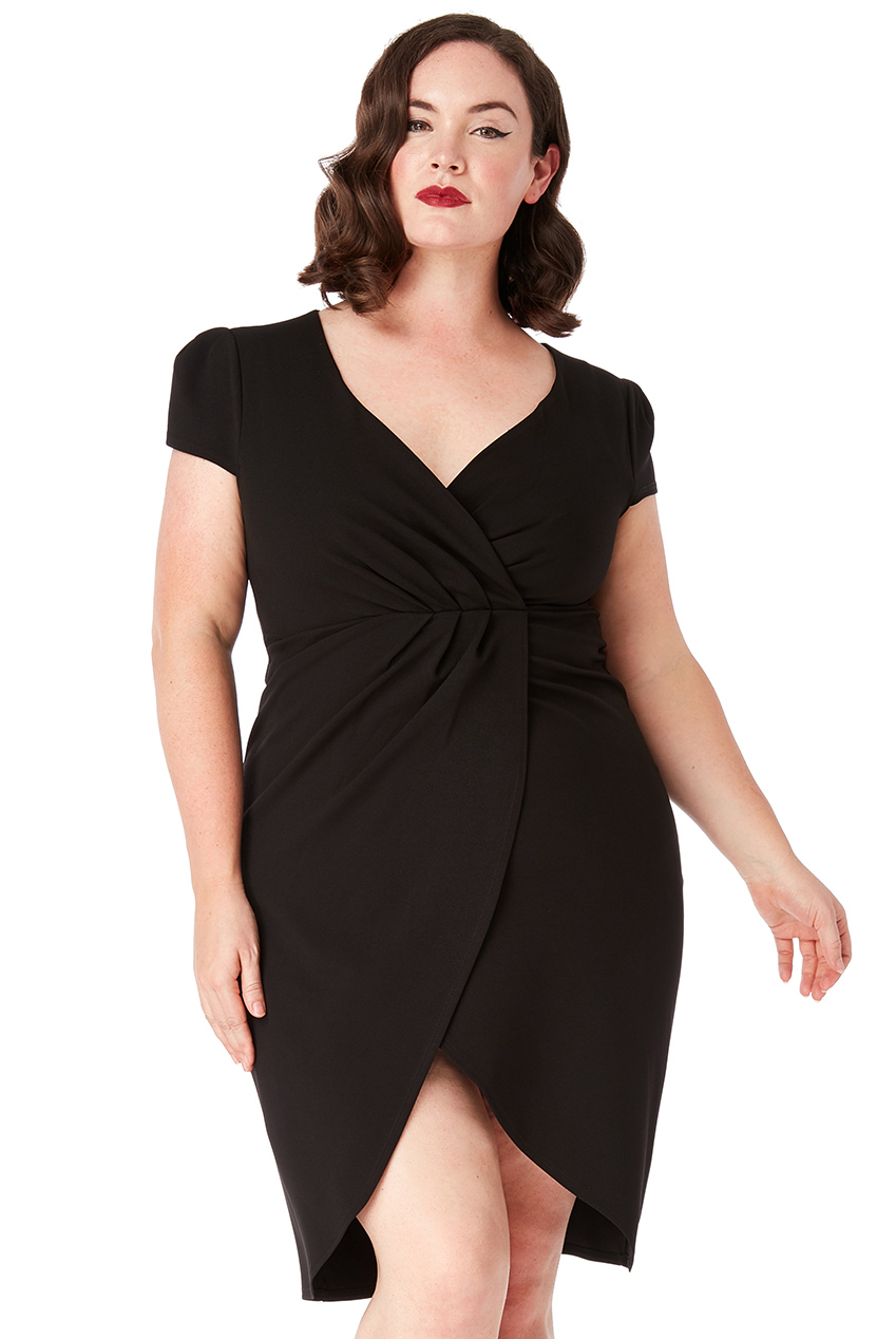 Wholesale Plus Size Front Pleat Tulip Midi Dress