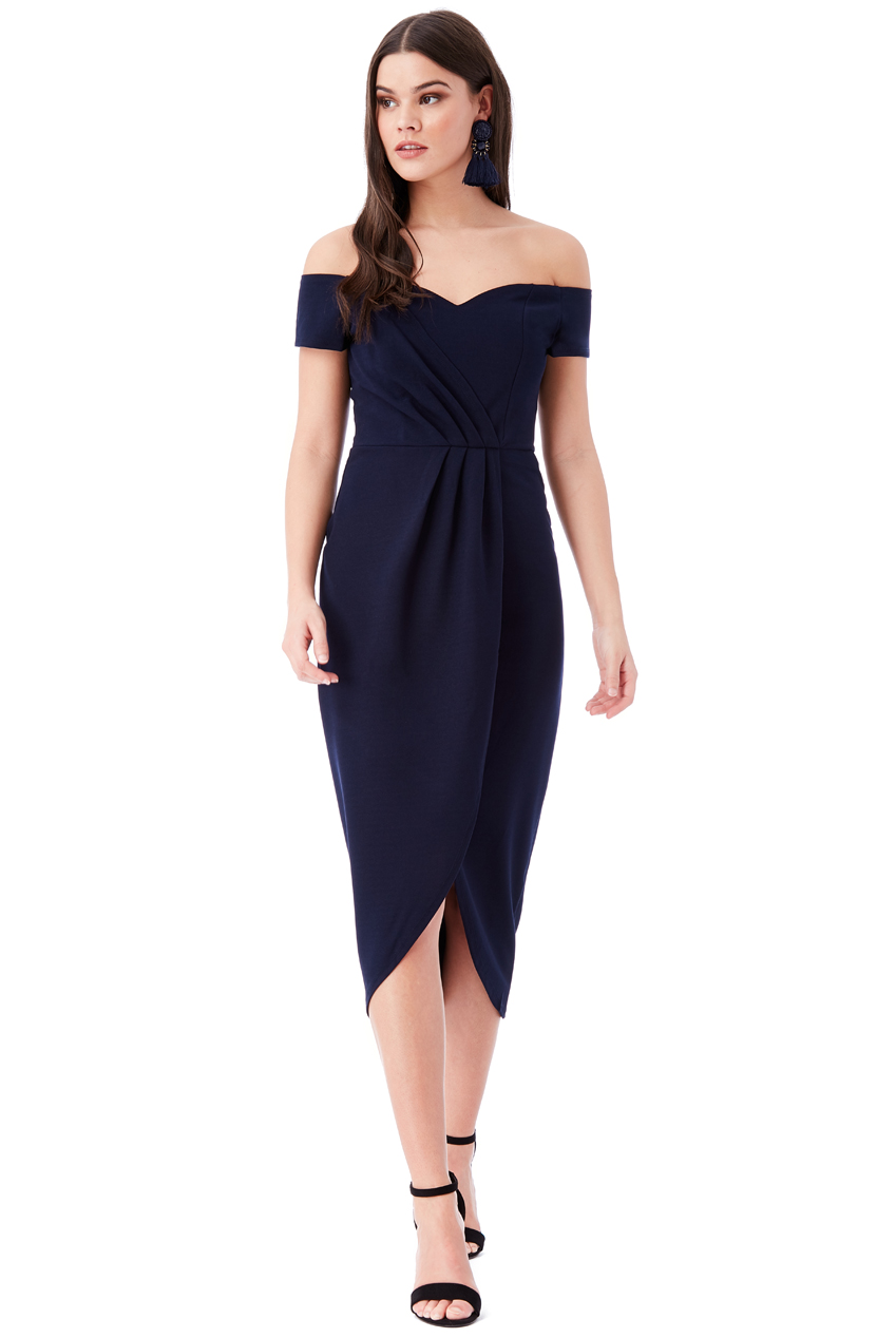Wholesale Off The Shoulder Midi Dress With Wrap Front