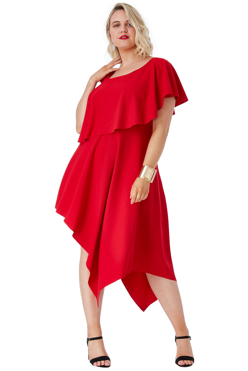 Wholesale Plus Size One Shoulder Midi Dress with Asymmetric Hem