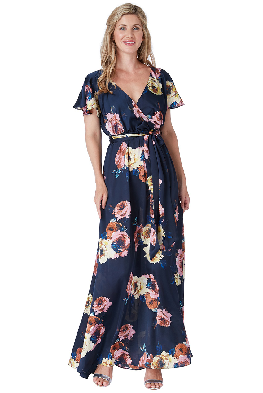 Wholesale Floral Flutter Sleeve Maxi Dress with Tie Waist