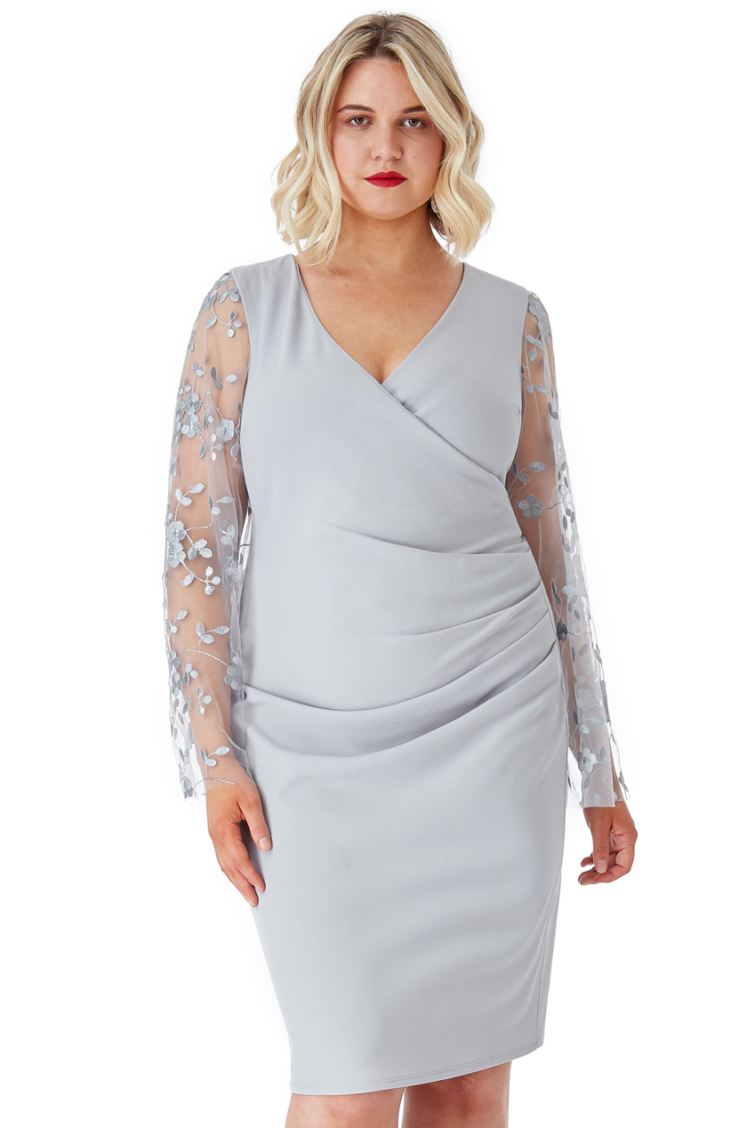 Wholesale Plus Size Ruched Pleat Midi Dress with Sheer Embroidered Sleeves