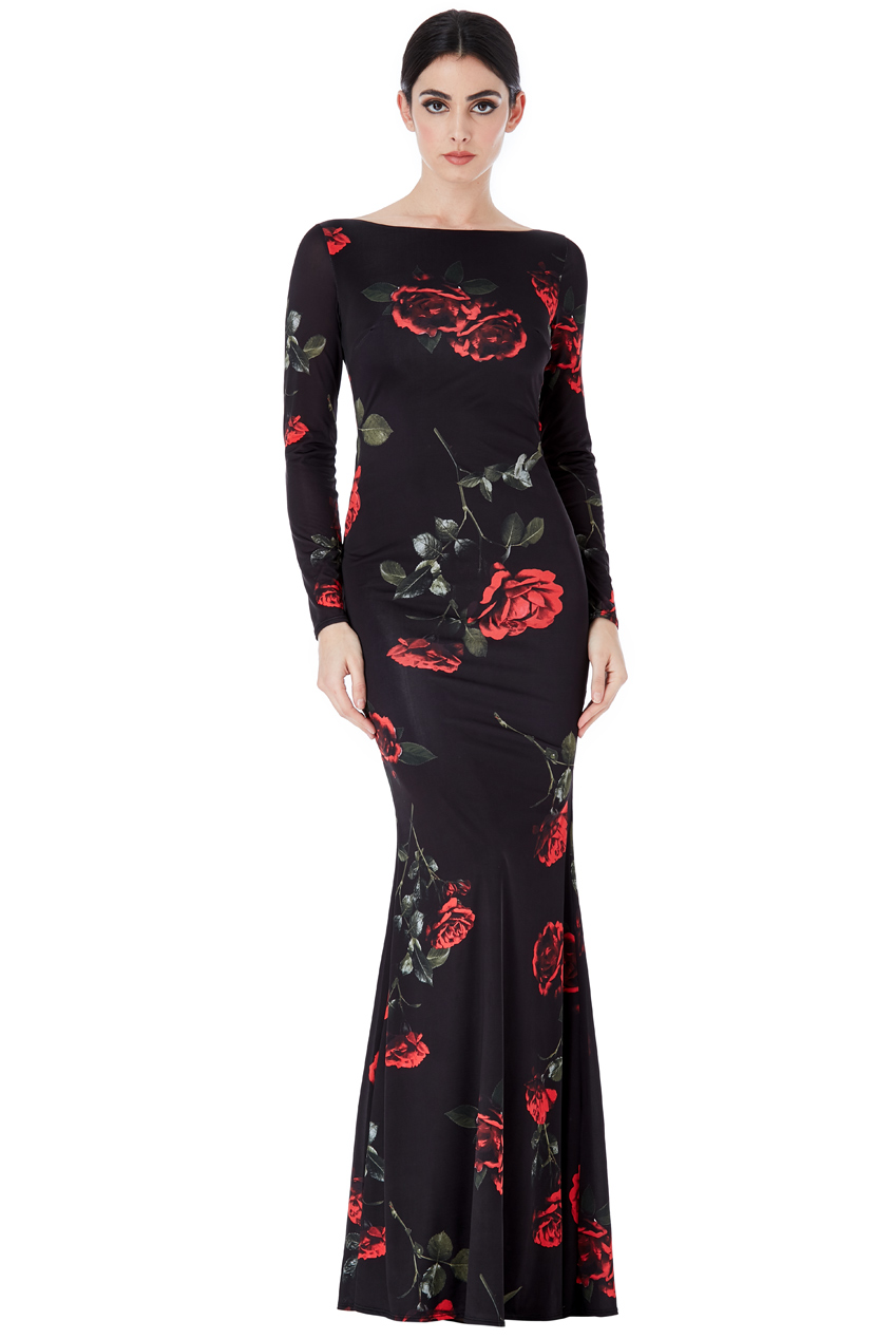 Wholesale Open Back Long Sleeves Floral Print Maxi Dress