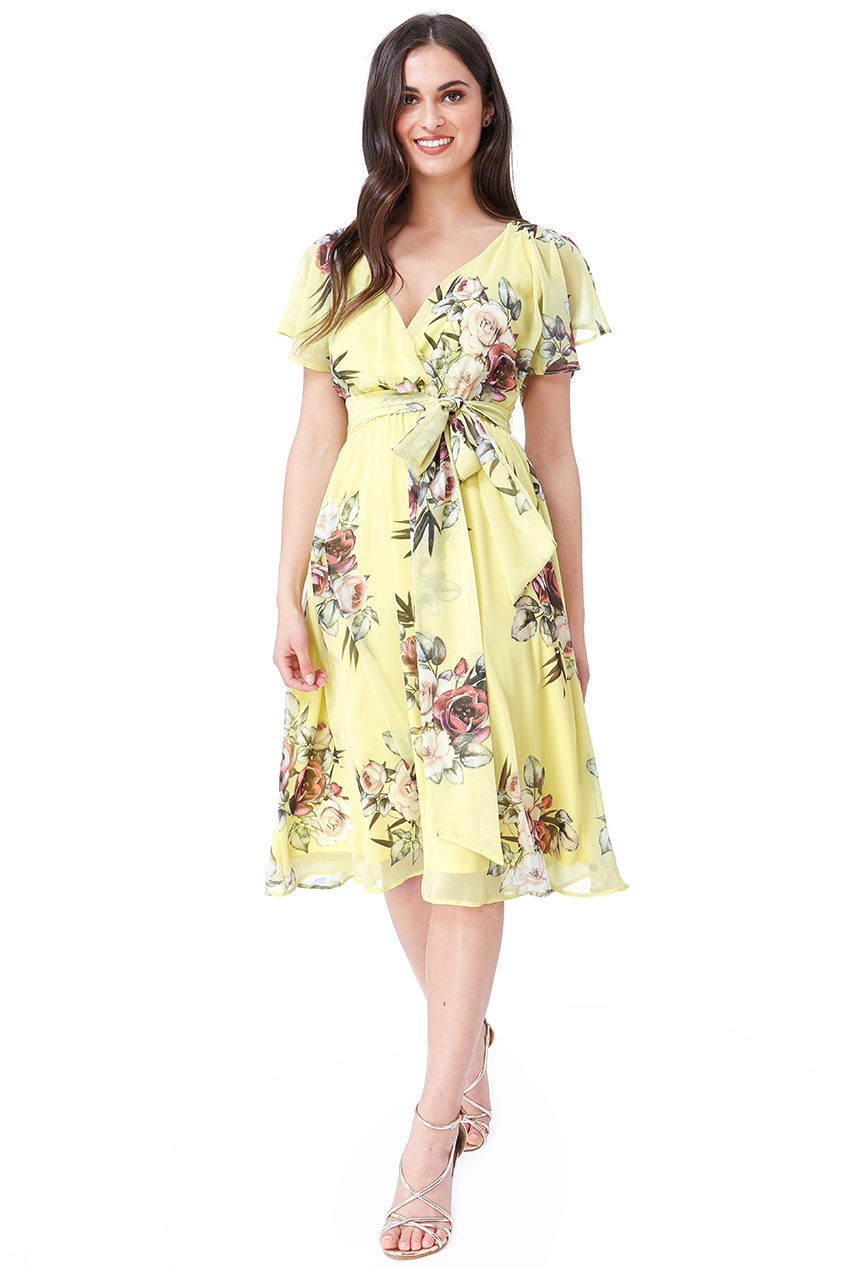 Wholesale Floral Print Midi Dress with Flutter Sleeves