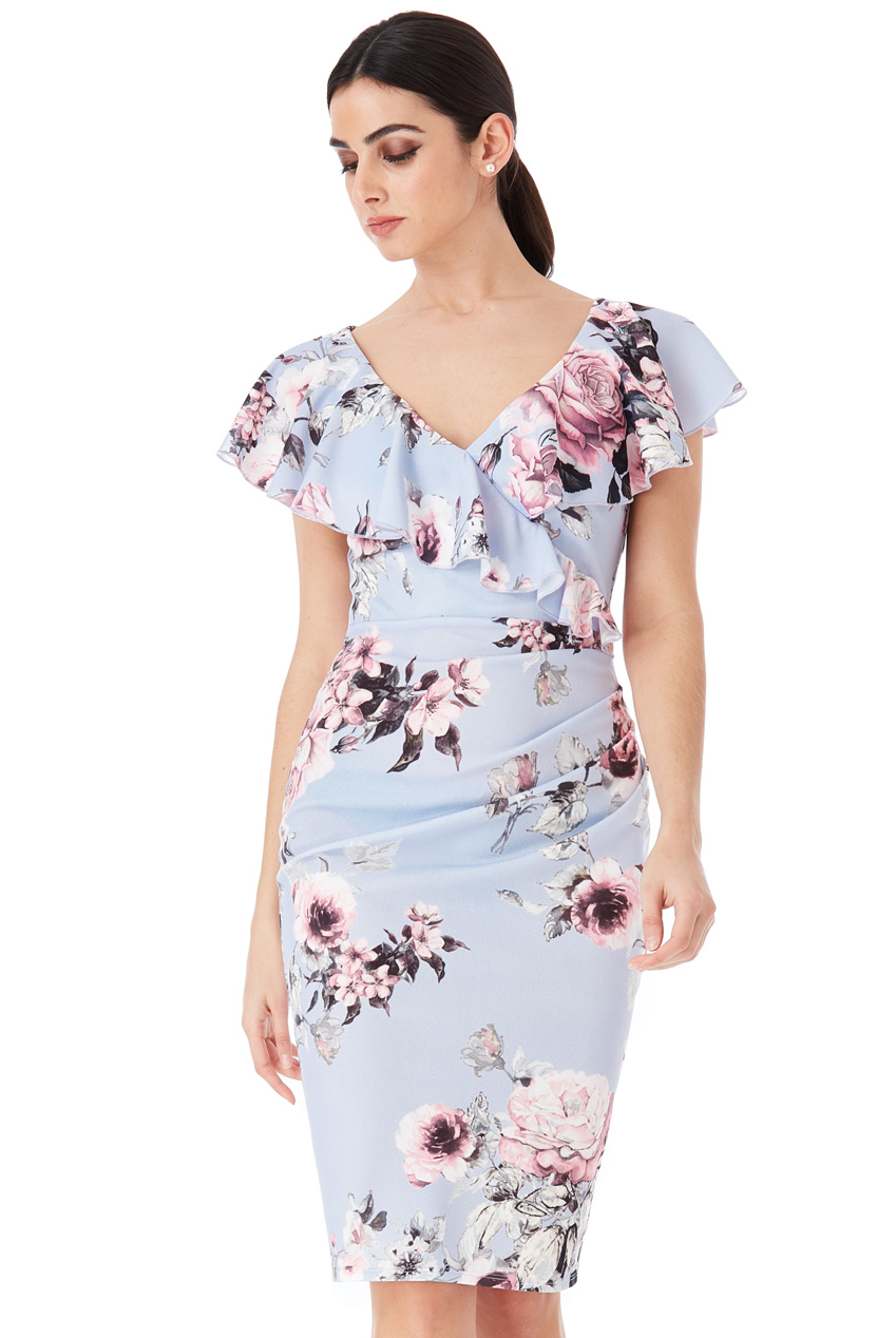 Wholesale Floral Print Midi Dress with Frilled V Neckline