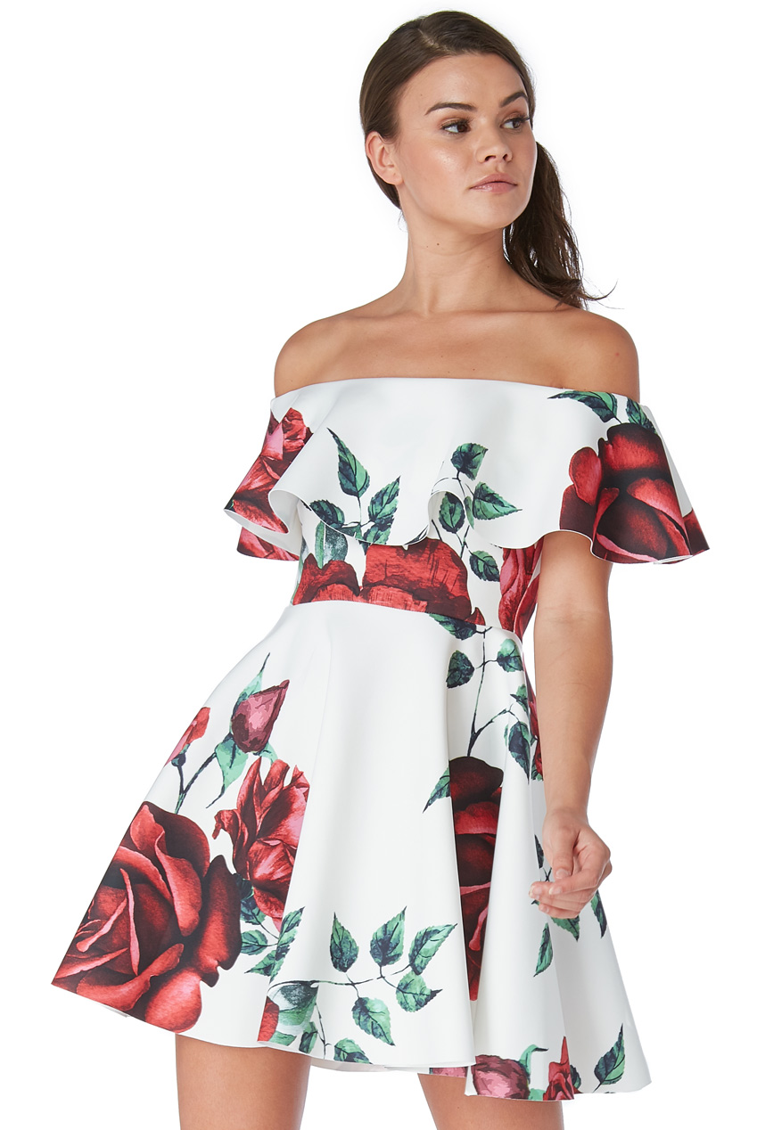 Wholesale Off The Shoulder Rose Print Skater Dress