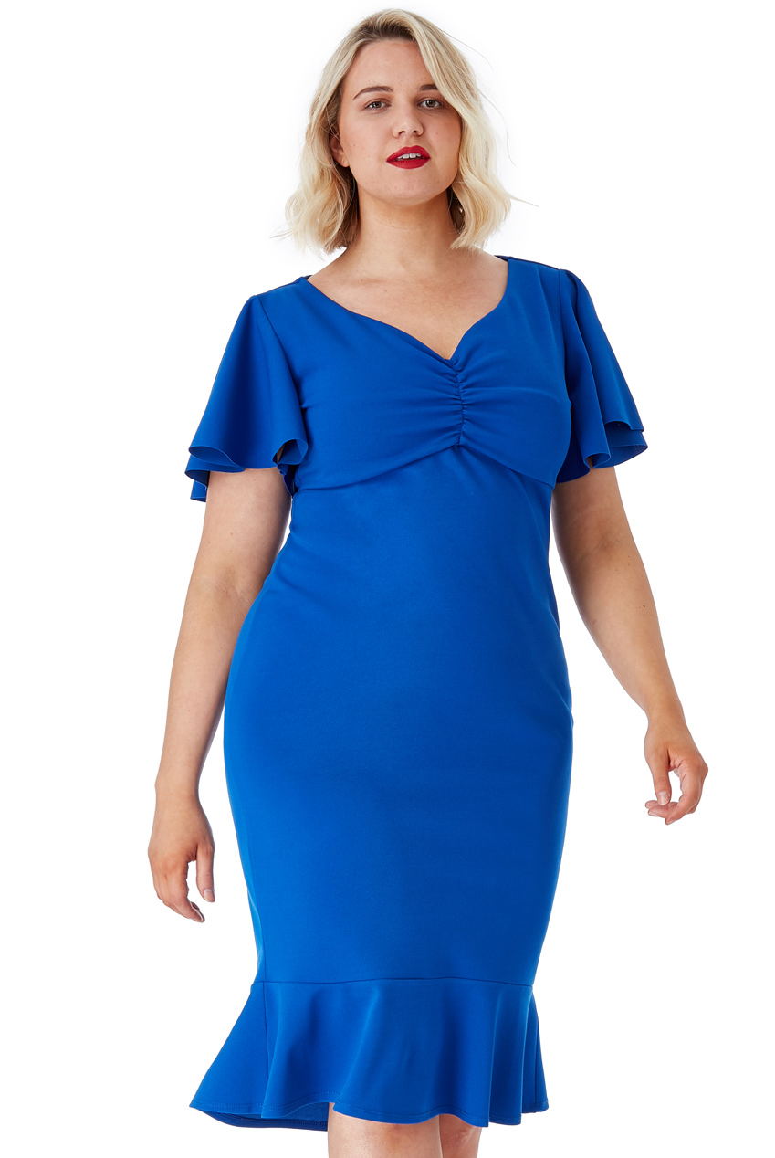 Wholesale Plus Size Frill Sleeve Midi Dress