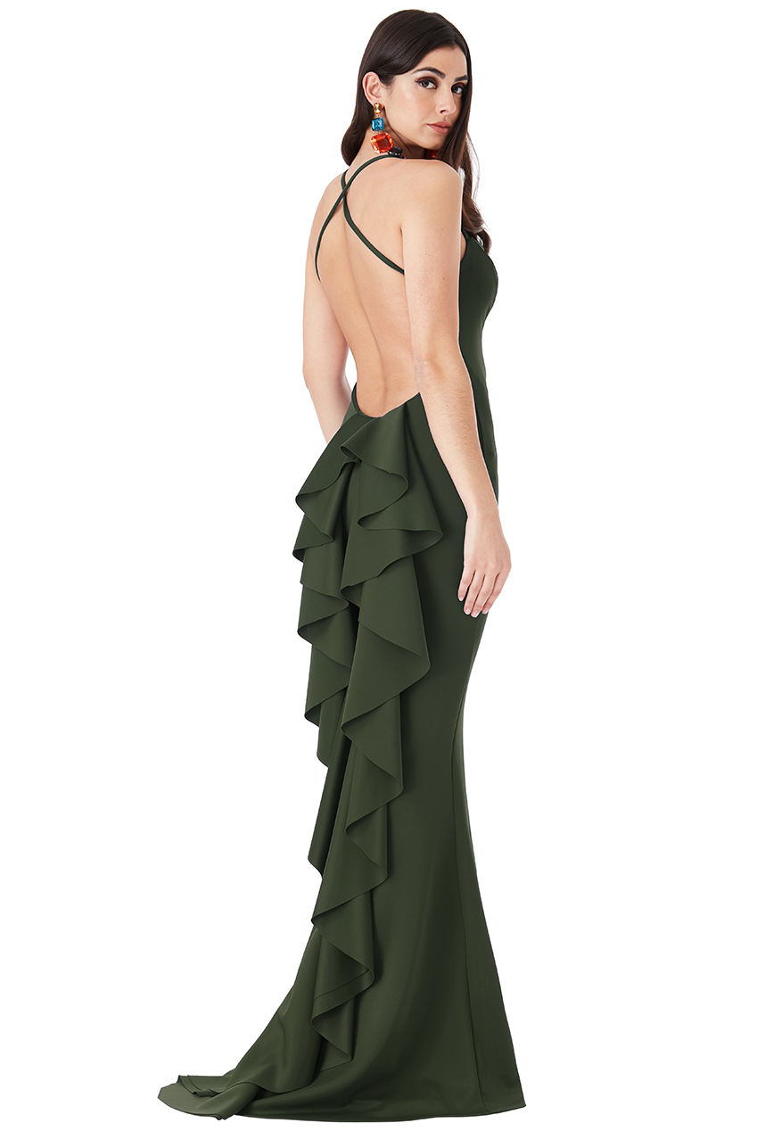 Wholesale Fishtail Maxi Dress with Open Back and Waterfall Frills