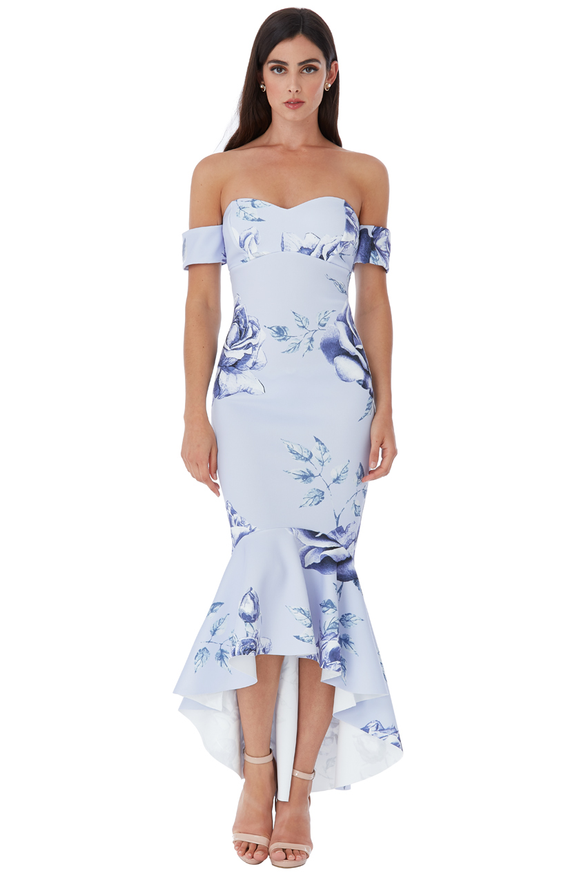 Wholesale Rose Print Fishtail Midi with Sweetheart Neckline