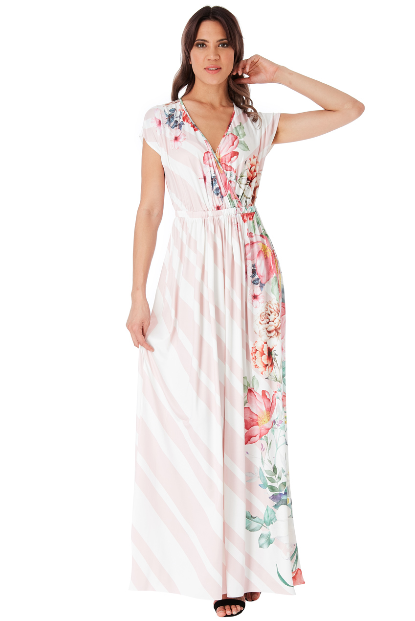 Wholesale Floral and Stripe Print Maxi Dress