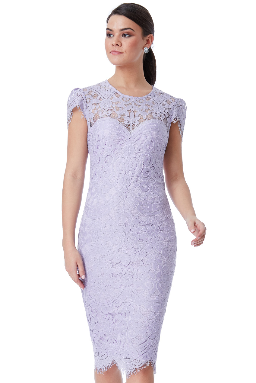 Wholesale Cap Sleeves Lace Midi Dress