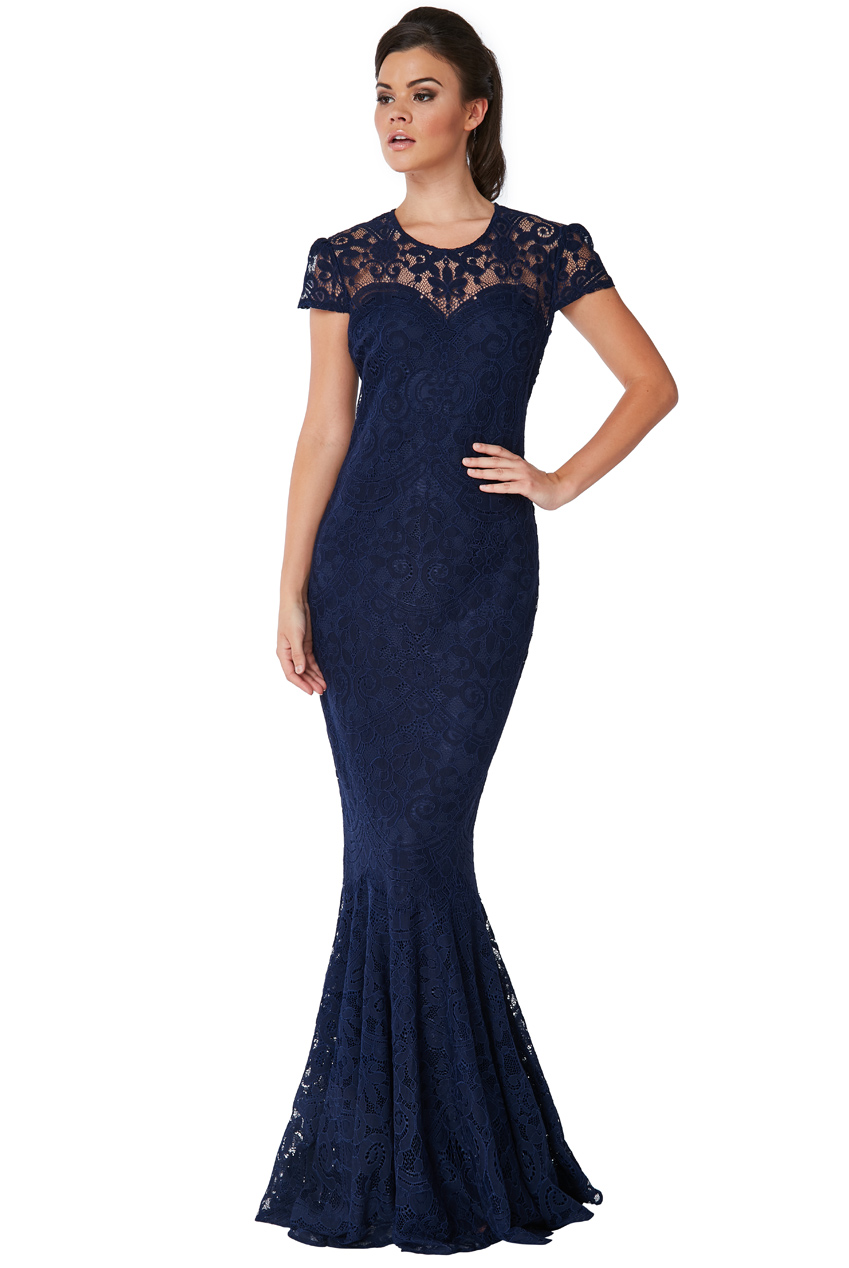 Wholesale Cap Sleeves Lace Maxi Dress
