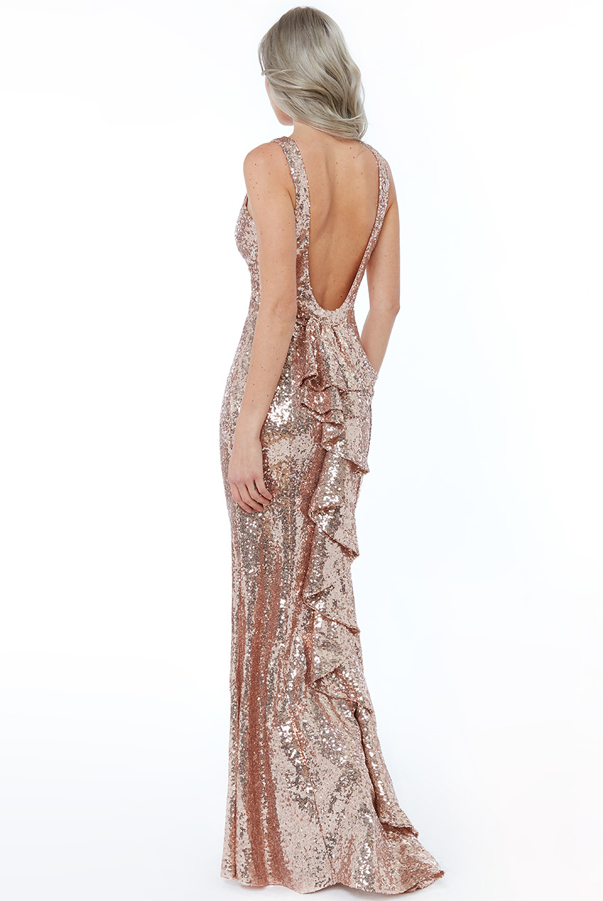 Wholesale Halter Maxi Fishtail Sequin Dress