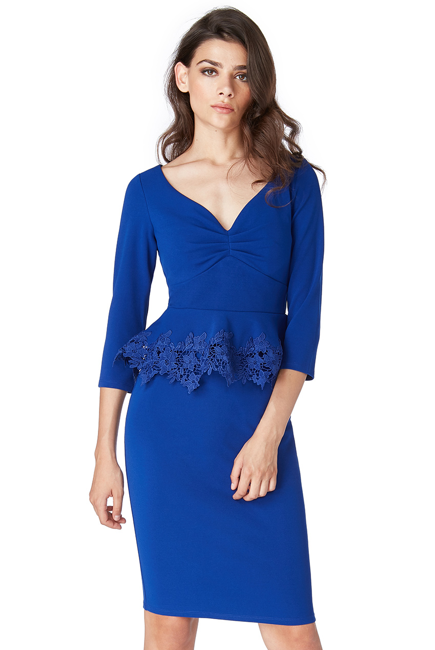 Wholesale Lace Peplum Midi Dress