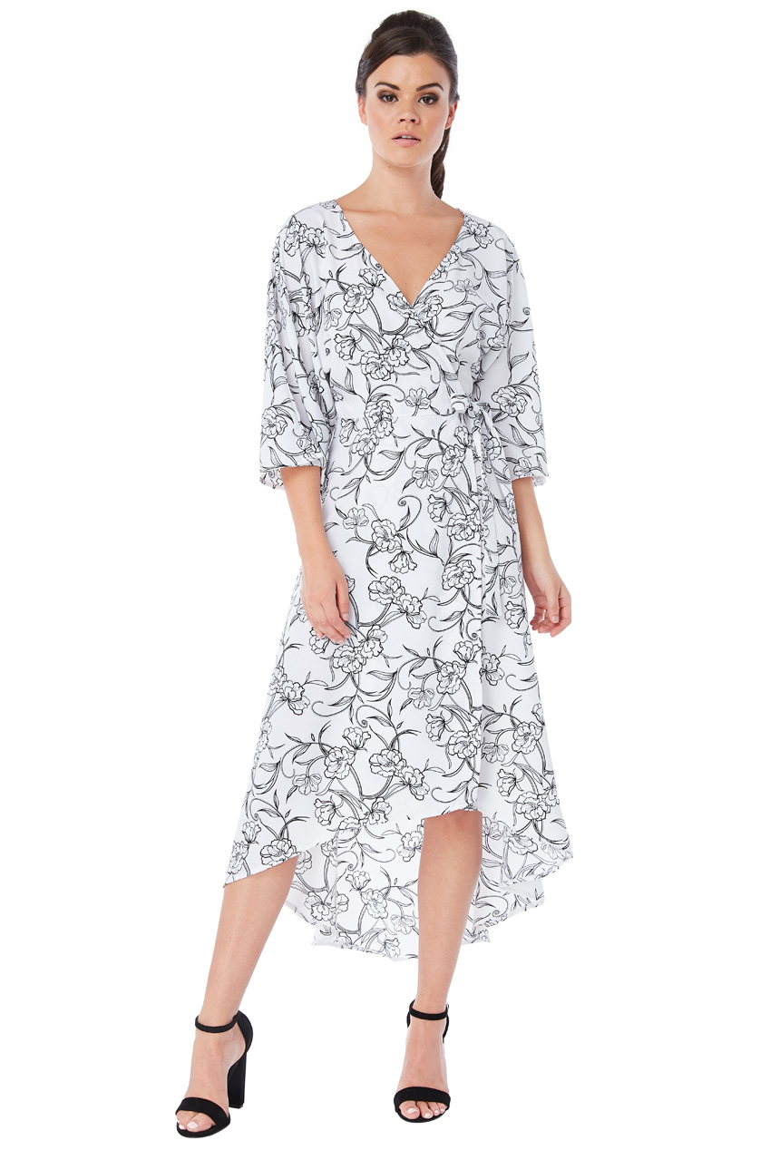 Wholesale High Low Floral Print Midi Dress