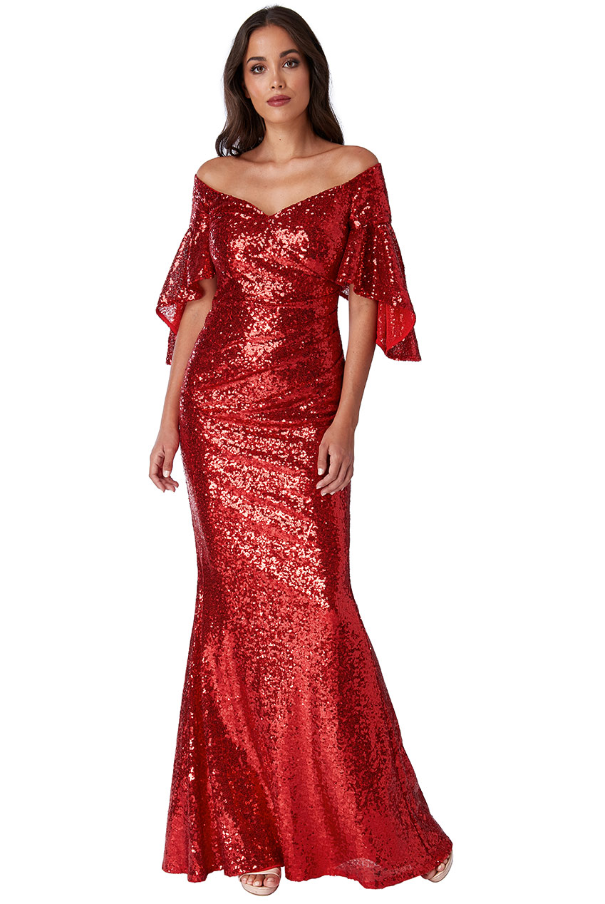 Wholesale Off The Shoulder Sequin Maxi Dress