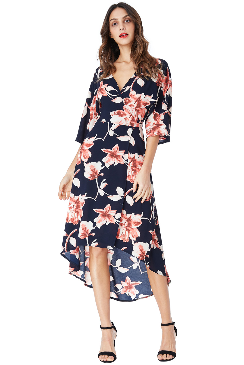 Wholesale Floral Print Midi Wrap Dress