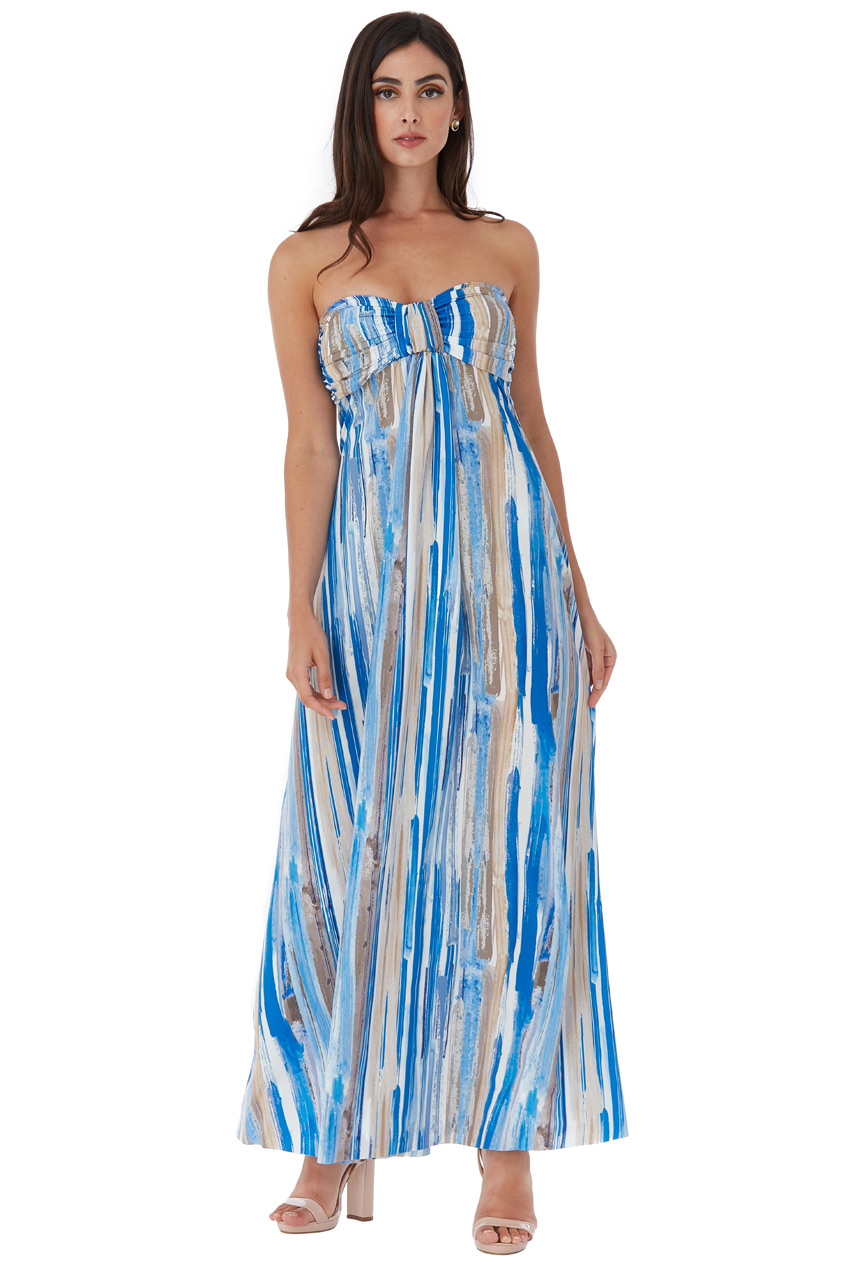 Wholesale Bandeau Paint Print Maxi Dress