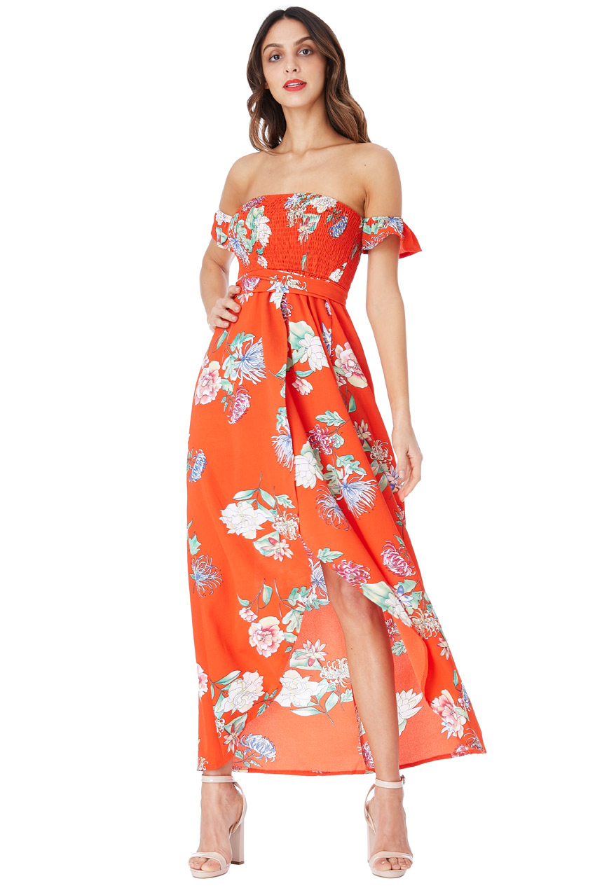 Wholesale Floral Print Bandeau Maxi with Frilled Sleeves