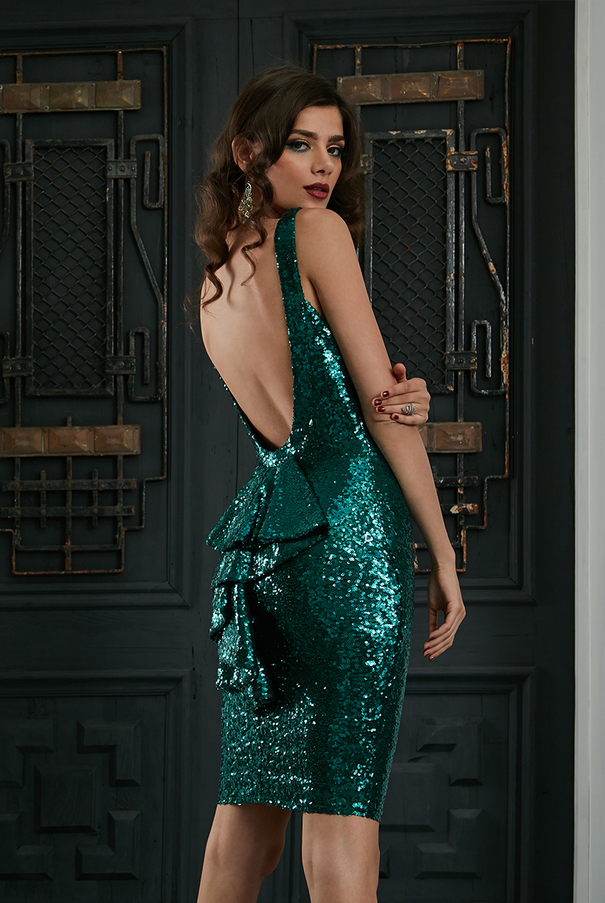 Wholesale Halter Neck Midi Sequin Dress